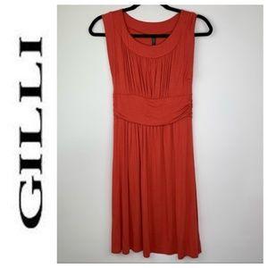 Gilli Empire Waist Sleeveless Orange Dress Medium